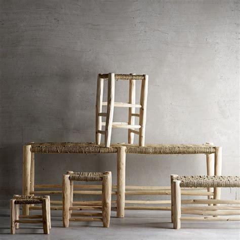 taburete la cuerda taburete bajo en madera natural con asiento trenzado de
