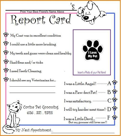 free printable pet report card template pin pet report card on