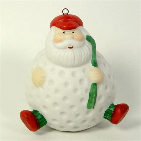 santa golf ball christmas ornament bisque porcelain