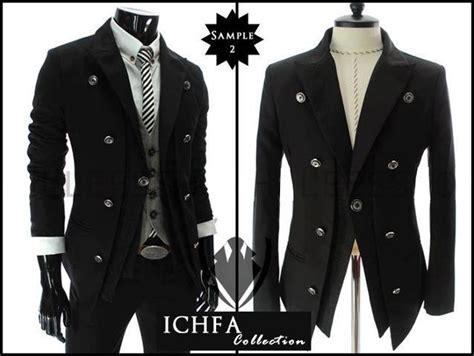 Style Grey Jas Blazer Pria Cowok Terbaru Korea Abu Pesta Kerja Wis grosir pakaian murah jas pria murah
