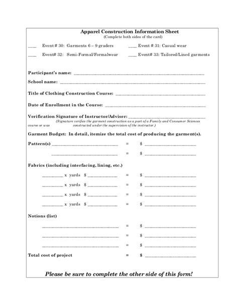 Apparel Construction Info Sheet Skills Selection Chart Home Builder Selection Sheet Template