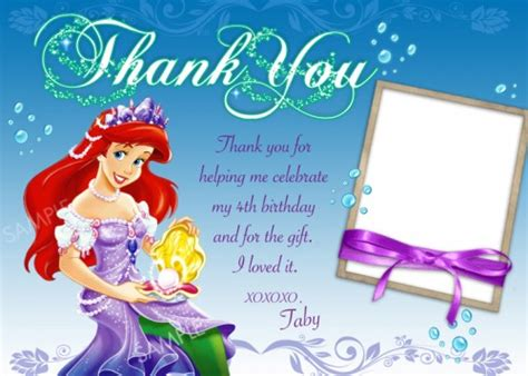 printable little mermaid thank you cards card printable images gallery category page 17