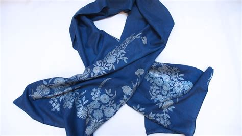 scarf batik on cambodian silk indigo dye by