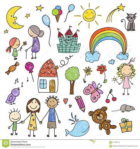 raccolta clipart raccolta dei disegni dei bambini illustrazione di stock