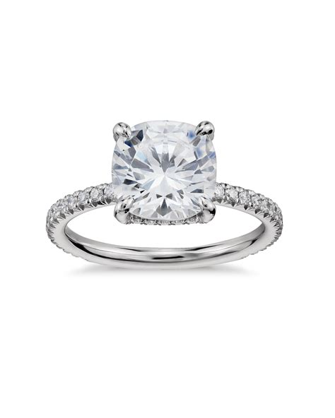 pave engagement rings cushion cut engagement rings martha stewart weddings