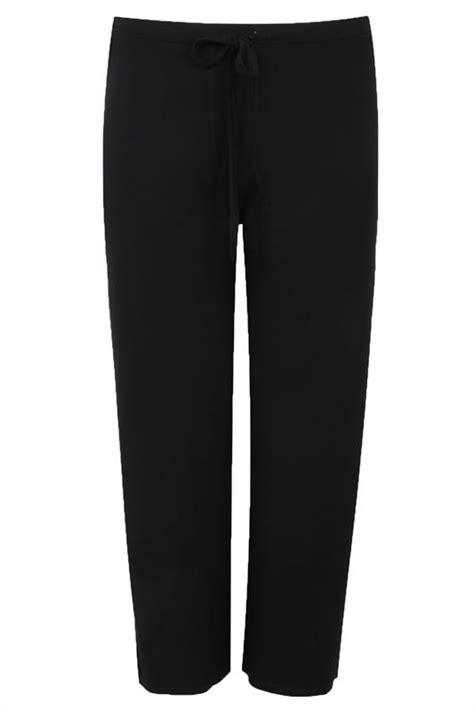 Id 521 Monochrome Mix Print Shirt black wide leg pull on stretch jersey trousers plus