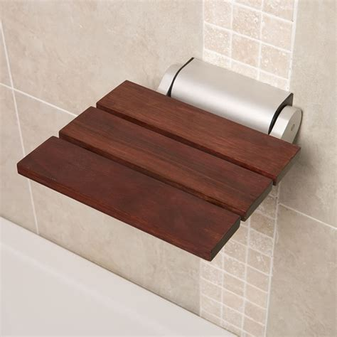 contemporary shower bench folding wooden shower bathroom seat sapele finish aluminum