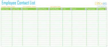 Staff Phone List Template Employee Contact List Template Dotxes