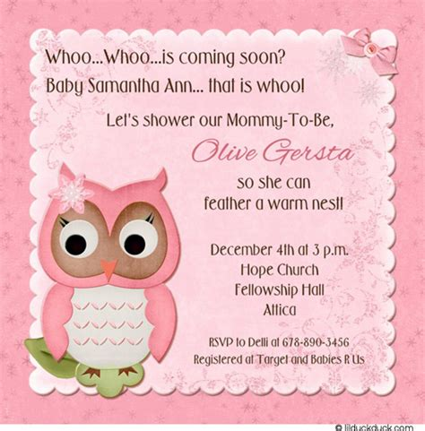 printable owl themed baby shower invitations sweety owl baby shower celebration invitation card with