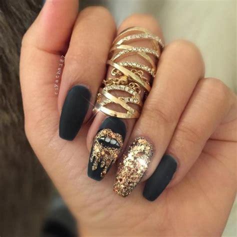gold nail design glamorous black and gold nail designs be modish