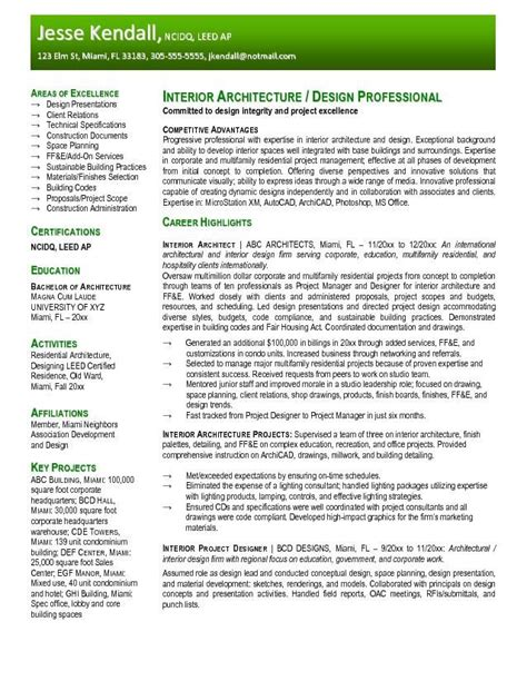 design architect cv free interior design resume templates resume sles