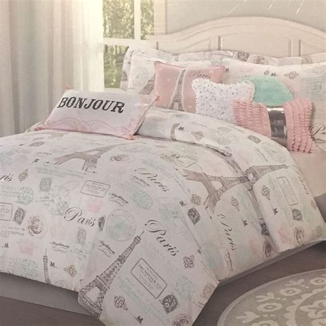 paris comforter set twin 7pc paris bedding set eiffel tower pink aqua twin