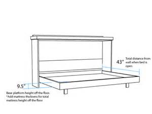 Horizontal Murphy Bed Dimensions Horizontal Dimensions Murphy Beds Portland