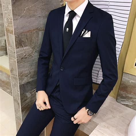 2pcs Japanese Style Dress 2pcs set 2018 new fashion korean style slim black mens suit with high quality wedding