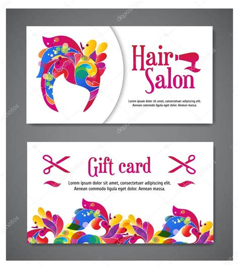 gift cards website template set of two templates of gift cards with color ornament for