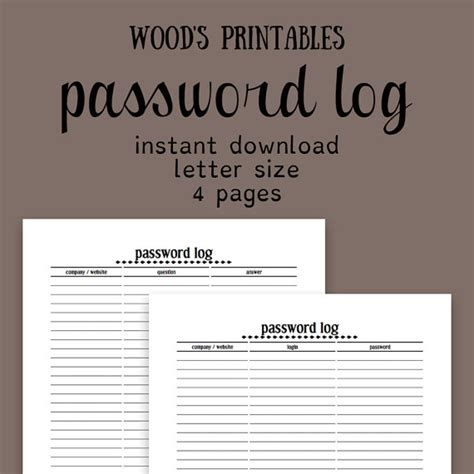 password book password keeper journal organizer notebook books password log pdf printable password book by woodsprintables