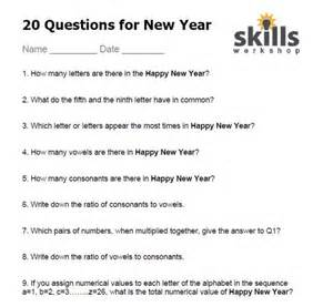 20 questions for new year skills workshop