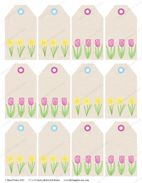 printable name tags for spring items similar to daffodil and tulip spring flower easter