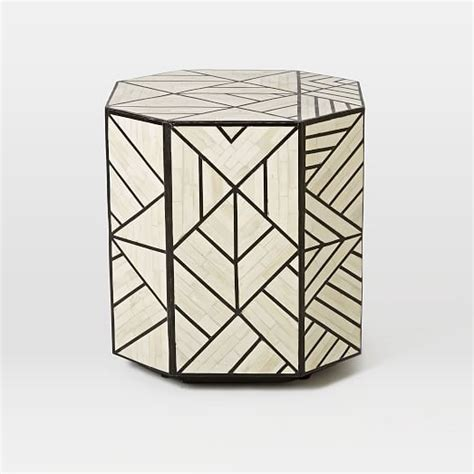 bone inlaid side table west elm