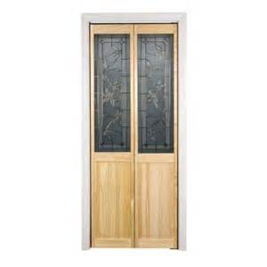 home depot wood doors interior pinecroft 30 in x 80 in glass over panel tuscany wood universal reversible interior bi fold