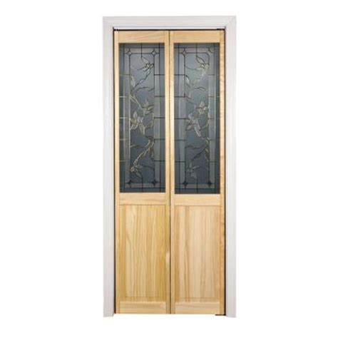 Wood Bifold Doors Interior Pinecroft 30 In X 80 In Glass Panel Tuscany Wood Universal Reversible Interior Bi Fold