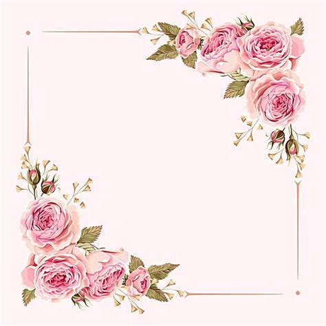 Wedding Border Background by Vector Watercolor Painted Pink Wedding Flowers Border