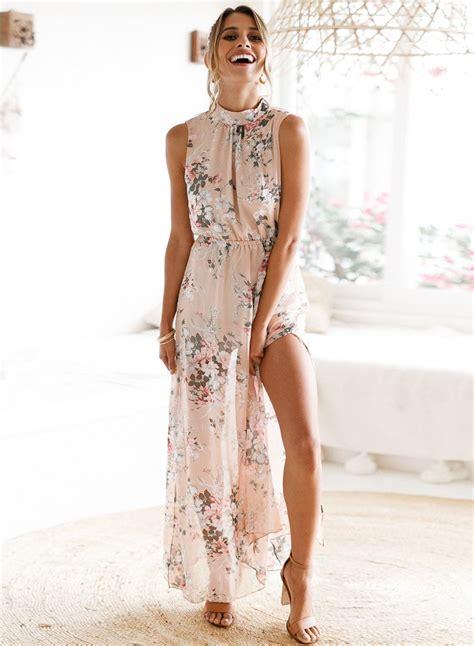 Sleeveless Floral Chiffon Dress fashion sleeveless floral slit maxi chiffon backless dress