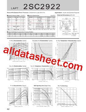 2sc2922 datasheet pdf sanken electric