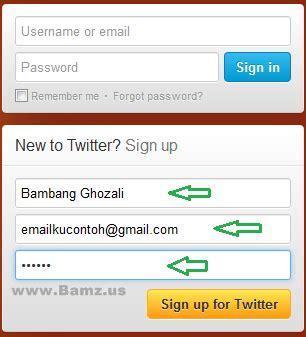 membuat username twitter cara membuat twitter andry blog s