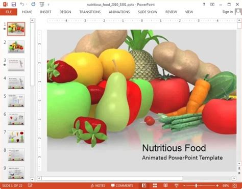 Animated Nutrition Presentation Templates For Powerpoint Powerpoint Food Templates