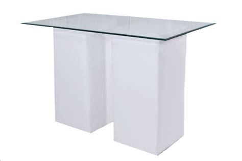 white column table with clear glass top bar height