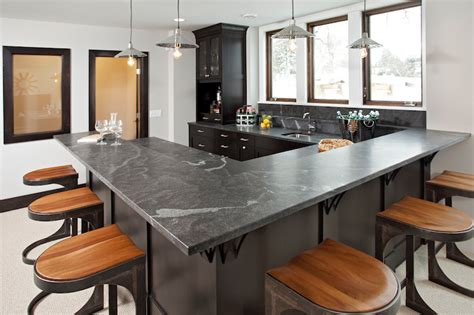 U Shaped Bar Bar Ideas Transitional Kitchen Refined Llc