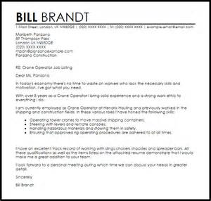 Construction Operator Cover Letter by Crane Operator Cover Letter Sle Livecareer