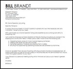 Ballast Operator Cover Letter by Crane Operator Cover Letter Sle Livecareer
