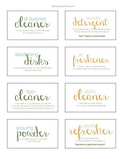 printable product labels homemade cleaning recipe free printable labels five spot