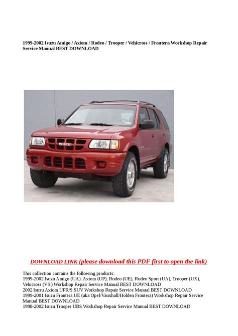 service manual 1999 isuzu trooper engine repair 1999 2002 isuzu trooper rodeo amigo