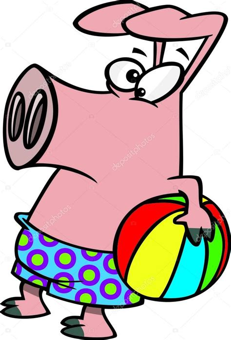pig clipart 1 royalty free stock illustrations vector clipart summer pig holding a beach ball royalty free