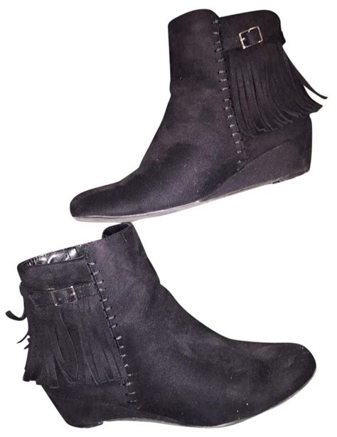 impo black fringe low wedge boots booties size us 7 5