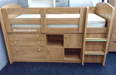 Oak Mid Sleeper Bed by Neptune Storage Midsleeper Bed In Oak Cupboard Bookcase