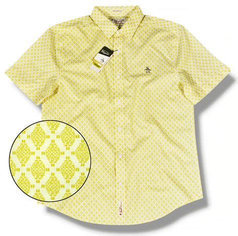 pattern bright yellow shirt original penguin diamond pattern spring summer short