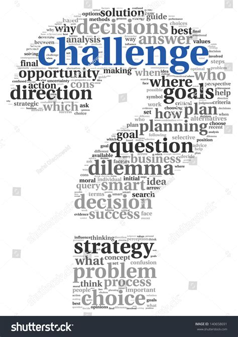 challenge concept word tag cloud question stock illustration 140658691