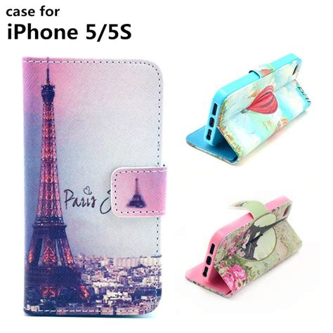 Cover Iphone 5 5s Fashion fashion phone cases eiffel tower pu leather for iphone 5 5s 5g luxury wallet jpg