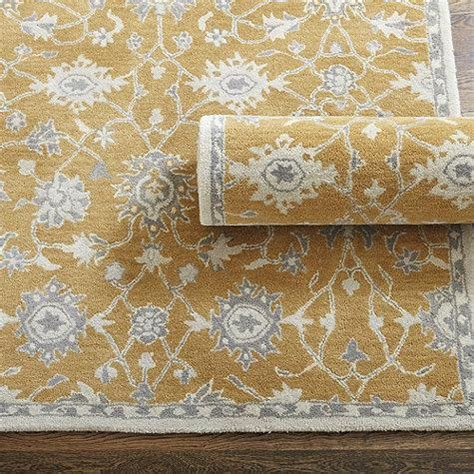 caroline tufted rug in yellow and grey
