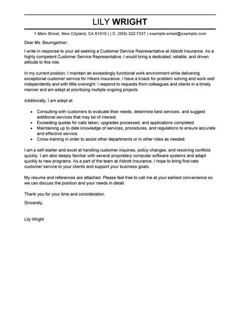 Cover Letter Sles Customer Service by Best Customer Service Representative Cover Letter Exles Livecareer