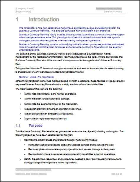 business plan introduction format business continuity plan template 48 page word 12 excel