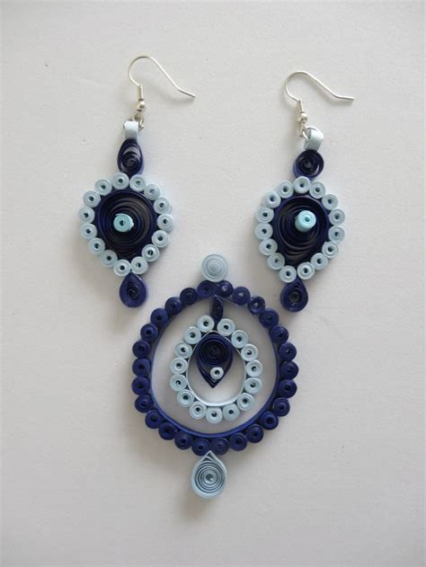 blue paper quilled earring pendant set all handmade