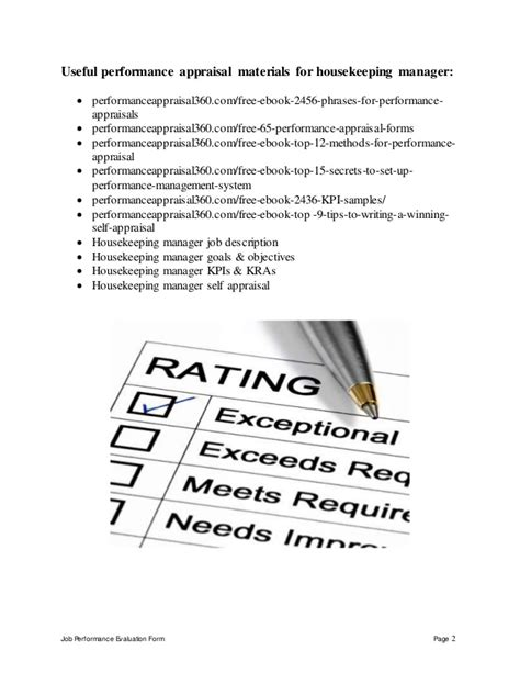 Sample Resume Objectives For Volunteer Nurse by Housekeeping Manager Performance Appraisal