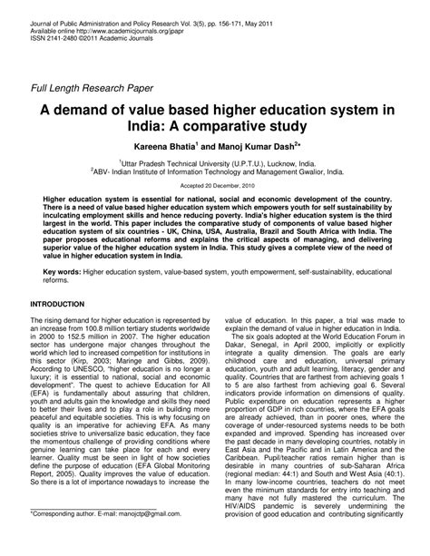 thesis comparative education a demand of value based higher education pdf download