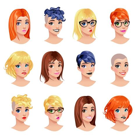different types of hairstyle different types of hairstyle vector free download