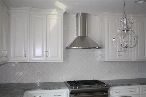 Glass Tile Backsplash Kitchen by White Herringbone Glass Tile Kitchen Backsplash And